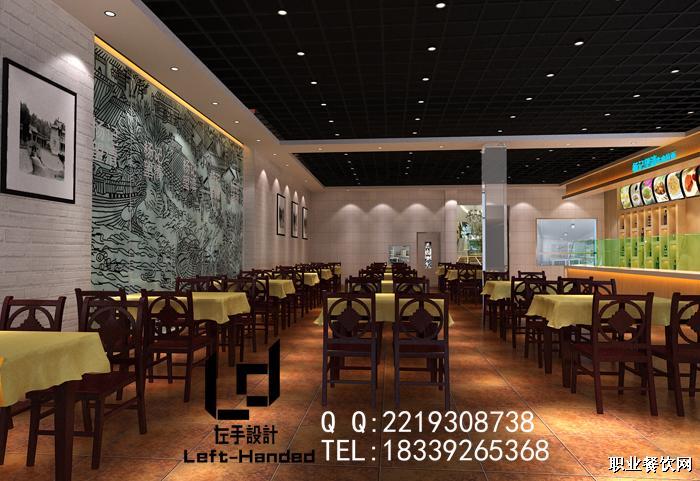 郑州饭店装修设计效果图六之一楼大厅